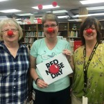 Red noses in library