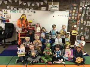 Mrs. David's Kindergarten students wear book character costumes